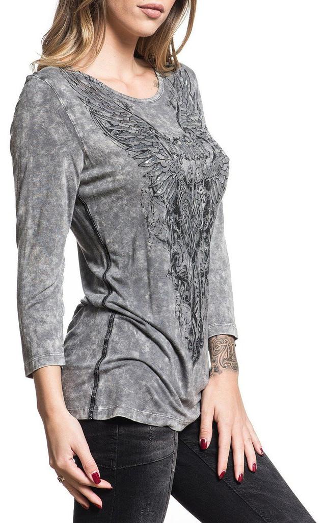 Лонгслив женский Sinful Roseanna, цвет: серый. S4031. Размер L (48)S4031