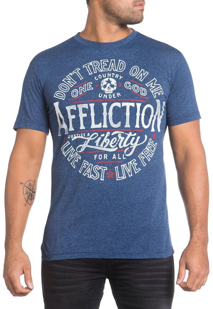 Футболка мужская Affliction Liberty For All, цвет: синий. A16171. Размер 2XL (54)A16171Футболка мужская Affliction выполнена из натурального хлопка и полиэстера. Модель с круглым вырезом горловины и короткими рукавами оформлена оригинальным принтом.