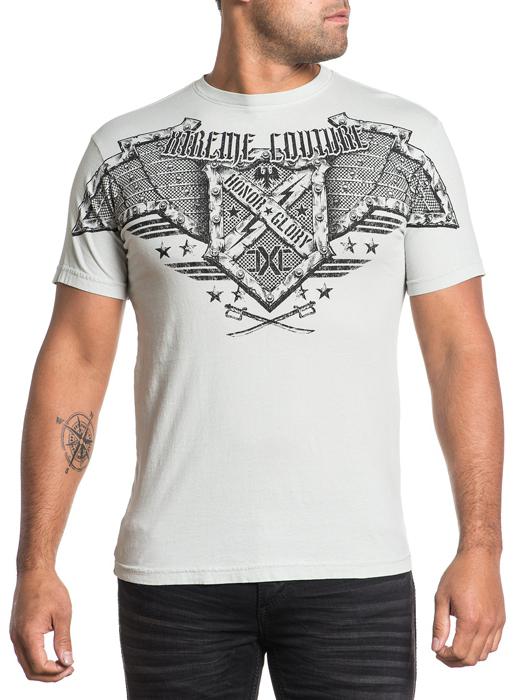 Футболка мужская Affliction Xtreme Couture Bomber, цвет: серый. X1521. Размер 2XL (54) футболка мужская affliction xtreme couture inhuman skulls цвет бежевый x1384 размер 3xl 56