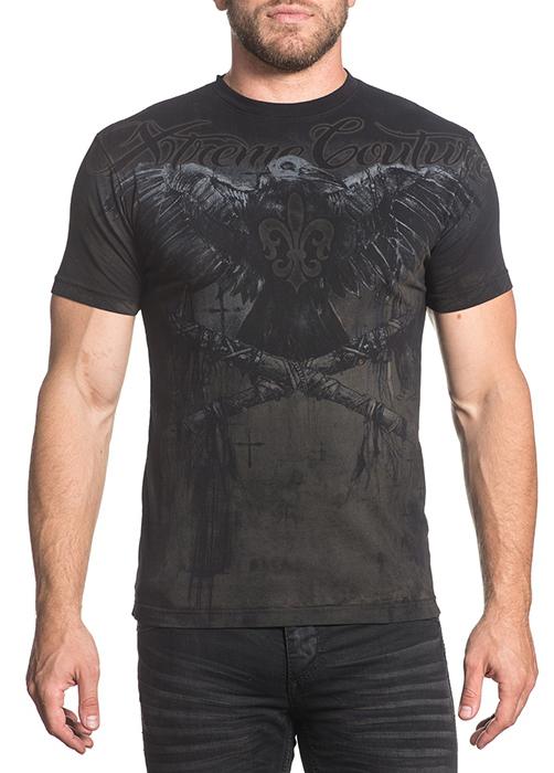 Футболка мужская Affliction Xtreme Couture Darkside, цвет: черный. X1669. Размер 2XL (54) футболка мужская affliction xtreme couture inhuman skulls цвет бежевый x1384 размер 3xl 56