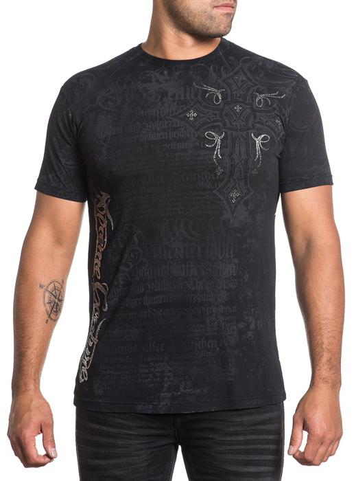 Футболка мужская Affliction Xtreme Couture Free Reign, цвет: черный. X1526. Размер 3XL (56)X1526Футболка мужская Affliction выполнена из натурального хлопка. Модель с круглым вырезом горловины и короткими рукавами оформлена оригинальным принтом.