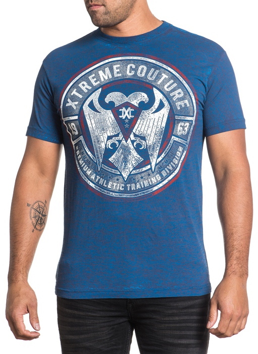 Футболка мужская Affliction Xtreme Couture Piledriver, цвет: синий. X1550. Размер 3XL (56)