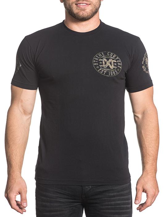 Футболка мужская Affliction Xtreme Couture Soldier Seal, цвет: черный. X1643. Размер 3XL (56)X1643Футболка мужская Affliction выполнена из натурального хлопка. Модель с круглым вырезом горловины и короткими рукавами оформлена оригинальным принтом.