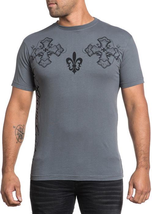 Футболка мужская Affliction Xtreme Couture Unity, цвет: темно-серый. X1517. Размер S (46)X1517Футболка мужская Affliction выполнена из натурального хлопка. Модель с круглым вырезом горловины и короткими рукавами оформлена оригинальным принтом.
