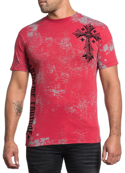 Футболка мужская Affliction Xtreme Couture Uprising, цвет: красный. X1507. Размер 2XL (54)X1507Футболка мужская Affliction выполнена из натурального хлопка. Модель с круглым вырезом горловины и короткими рукавами оформлена оригинальным принтом.