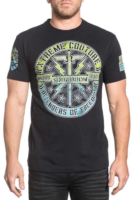 Футболка мужская Affliction Xtreme Couture Xc Squadron, цвет: черный. X1649. Размер L (50)X1649Футболка мужская Affliction выполнена из натурального хлопка. Модель с круглым вырезом горловины и короткими рукавами оформлена оригинальным принтом.