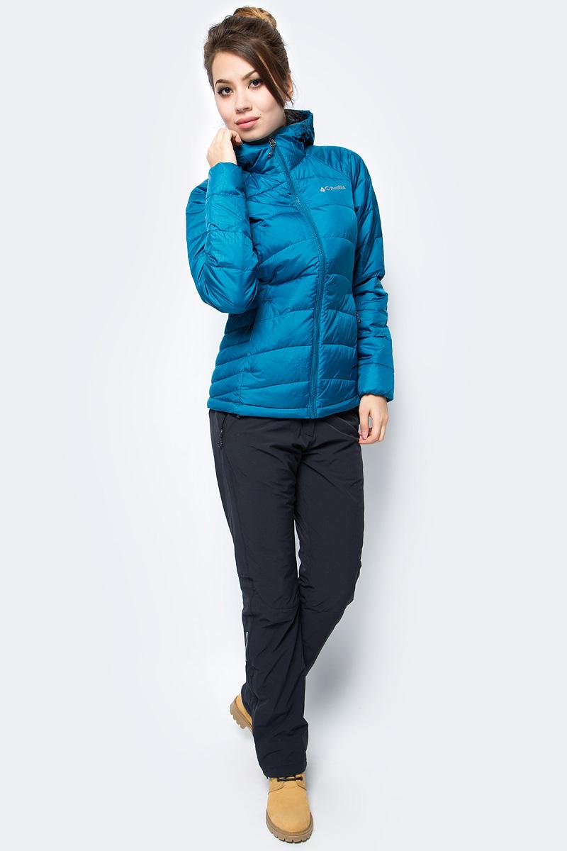 Куртка женская Columbia Karis Gale Jacket W, цвет: бирюзовый. 1737041-340. Размер S (44)1737041-340Женская куртка станет отличным вариантом для походов и активного отдыха в прохладную погоду.Водонепроницаемое покрытие Omni-Shield защищает изделие от влаги. В модели предусмотрен не отстегивающийся регулируемый капюшон. Два врезных кармана застегиваются на молнию.