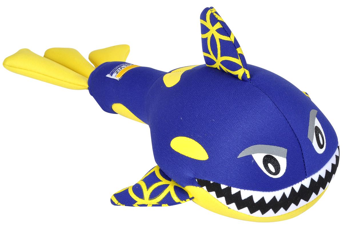Игрушка для собак Camon HighViz. Кит, с пищалкой, цвет: синий, желтый, длина 30 см игрушка для животных camon тапочки с пищалкой цвет серый черный белый 12 х 10 х 3 см