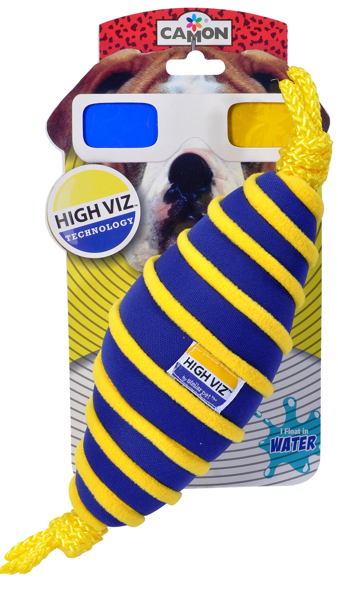Игрушка для собак Camon HighViz. Веретено, с пищалкой, цвет: синий, желтый, длина 25 смAH503/IИгрушка для собак Camon HighViz. Веретено изготовлена из текстиля с наполнителем из синтепона. Внутри - пищалка. Игрушка предназначена для водных игр, не тонет, сине-желтая расцветка обеспечит наилучшую видимость.С такой игрушкой вы сможете играть в захватывающие и активные игры с вашей собакой. Она прекрасно подходит для животных среднего и крупного размера в качестве дрессировочного предмета.Размеры: 25 х 8 х 8 см.