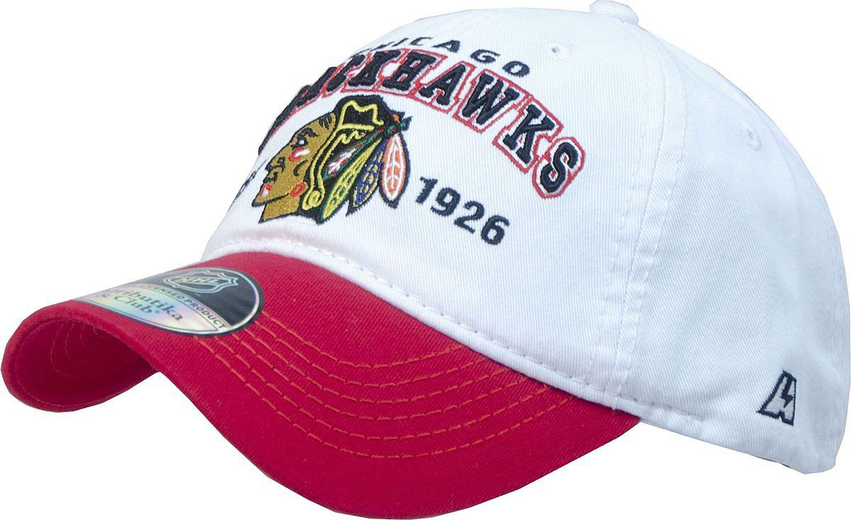 Бейсболка Atributika & Club Chicago Blackhawks, цвет: белый, красный. 12814. Размер 55/5812814Бейсболка выполнена из высококачественного материала. Модель дополнена широким твердым козырьком и оформлена объемной вышивкой.