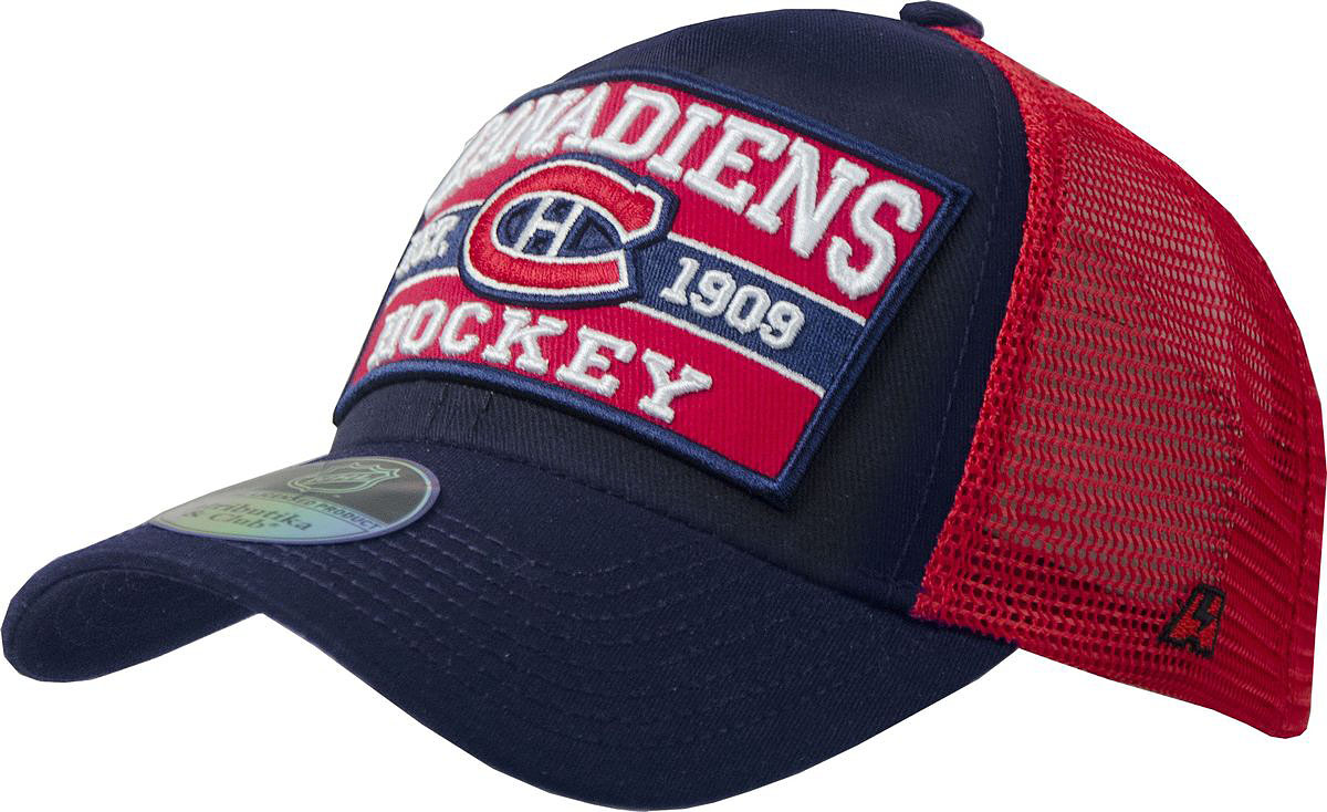 Бейсболка Atributika & Club Monreal Canadiens, цвет: синий, красный. 12820. Размер 55/5812820Бейсболка выполнена из высококачественного материала. Модель дополнена широким твердым козырьком и оформлена объемной вышивкой.