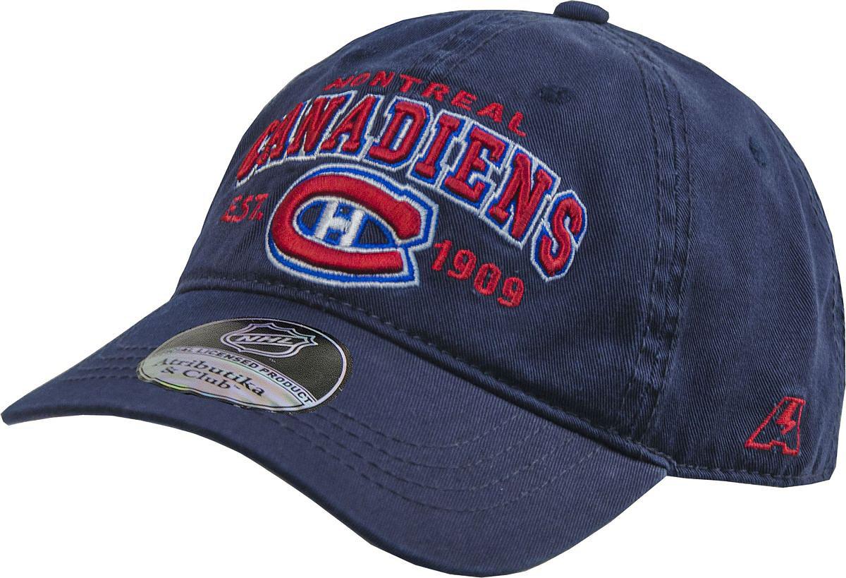Бейсболка Atributika & Club Monreal Canadiens, цвет: темно-синий. 29041. Размер 55/5829041Бейсболка выполнена из высококачественного материала. Модель дополнена широким твердым козырьком и оформлена объемной вышивкой.