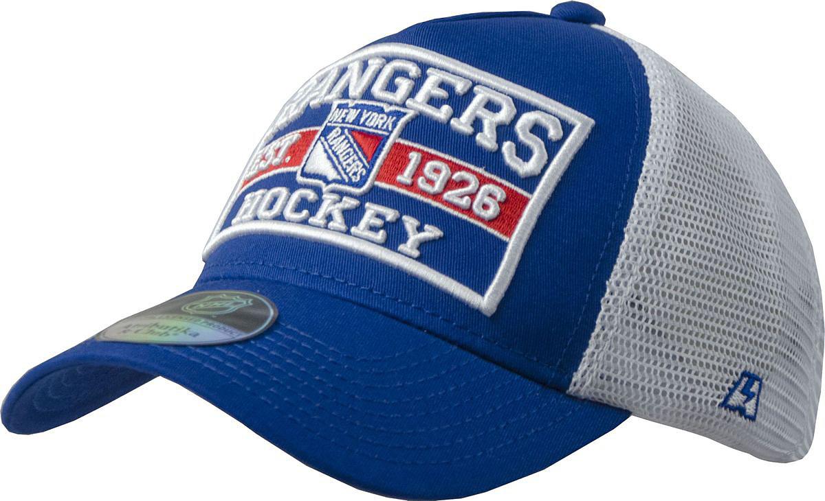 Бейсболка Atributika & Club New York Rangers, цвет: синий, белый. 28133. Размер 55/5828133Бейсболка выполнена из высококачественного материала. Модель дополнена широким твердым козырьком и оформлена объемной вышивкой.