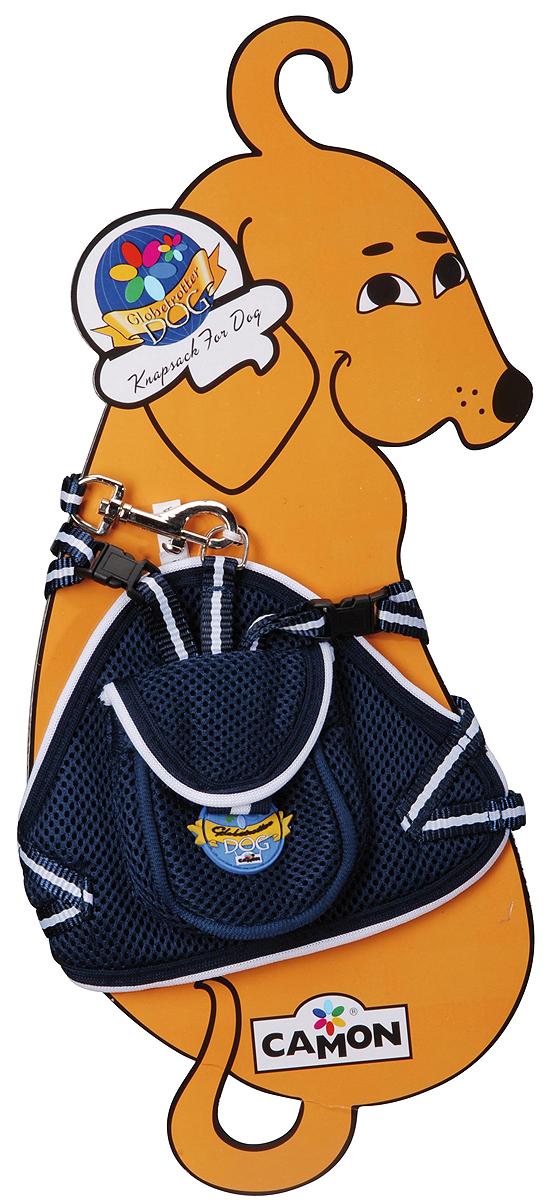 Шлейка для собак Camon, с поводком, цвет: синий, 40 см. Размер SDC035/A