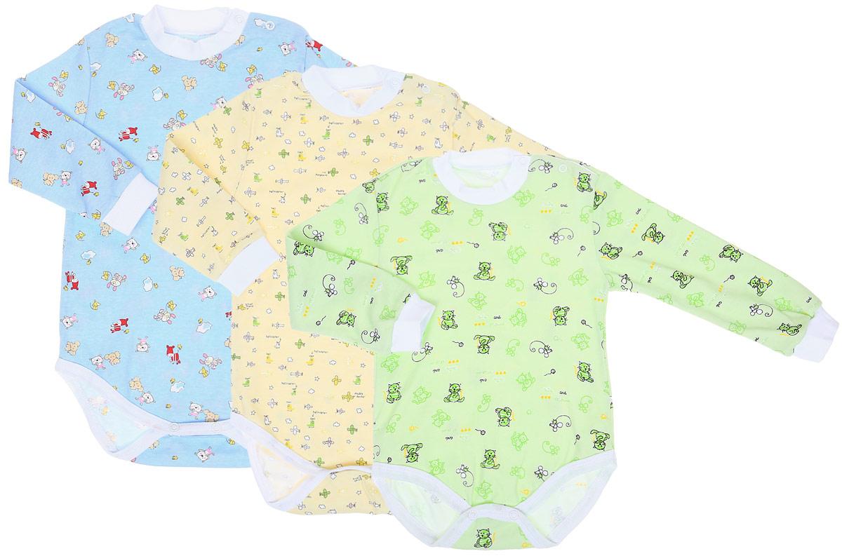 Боди для мальчика Фреш Стайл, цвет: голубой, желтый, зеленый, 3 шт. 33-308м. Размер 86 боди и песочники spasilk боди короткий рукав ons3p02 ons3p03 3 шт