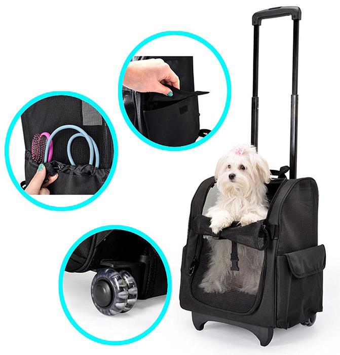 Рюкзак-трасформер для животных Camon, на колесиках, со складной ручкой, 32 x 29 x 50 смCA603/C