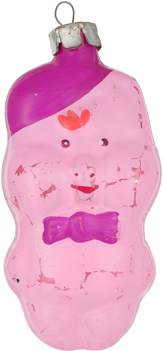 Елочная игрушка Поросенок с фиолетовой бабочкой. Стекло, роспись. СССР, 1960-е годы елочная игрушка поросенок с зеленой бабочкой стекло роспись ссср 1960 е годы