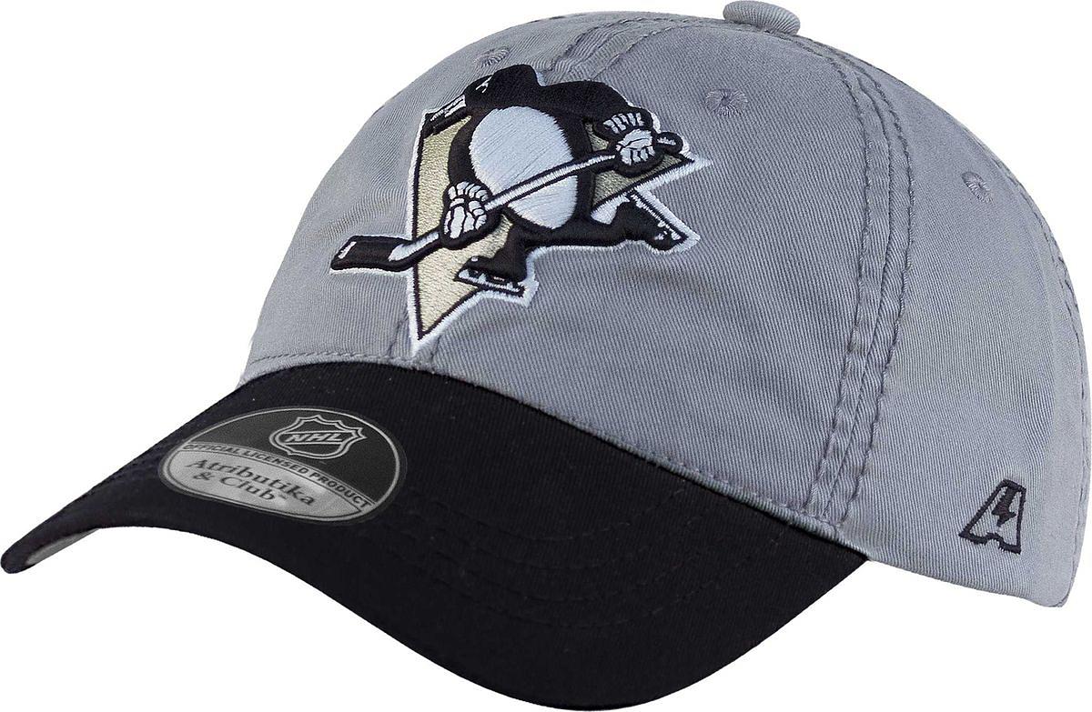 Бейсболка детская Atributika & Club Pittsburgh Penguins, цвет: серый, черный. 29067. Размер 52/5429067Бейсболка выполнена из высококачественного материала. Модель дополнена широким твердым козырьком и оформлена объемной вышивкой.
