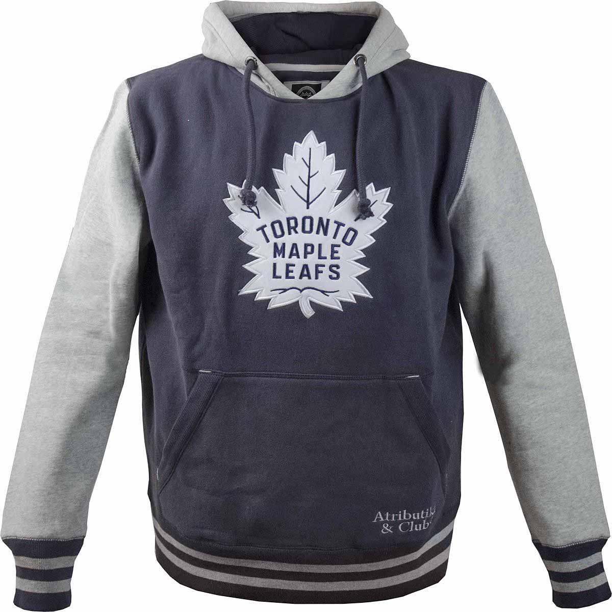 Толстовка мужская Atributika & Club Toronto Maple Leafs, цвет: синий, серый. 35820. Размер XS (44)35820Мужская толстовка Atributika & Club выполнена из хлопкового трикотажа. Модель с длинными рукавами и капюшоном на груди оформлена логотипом хоккейного клуба Toronto Maple Leafs. Имеется карман-кенгуру.