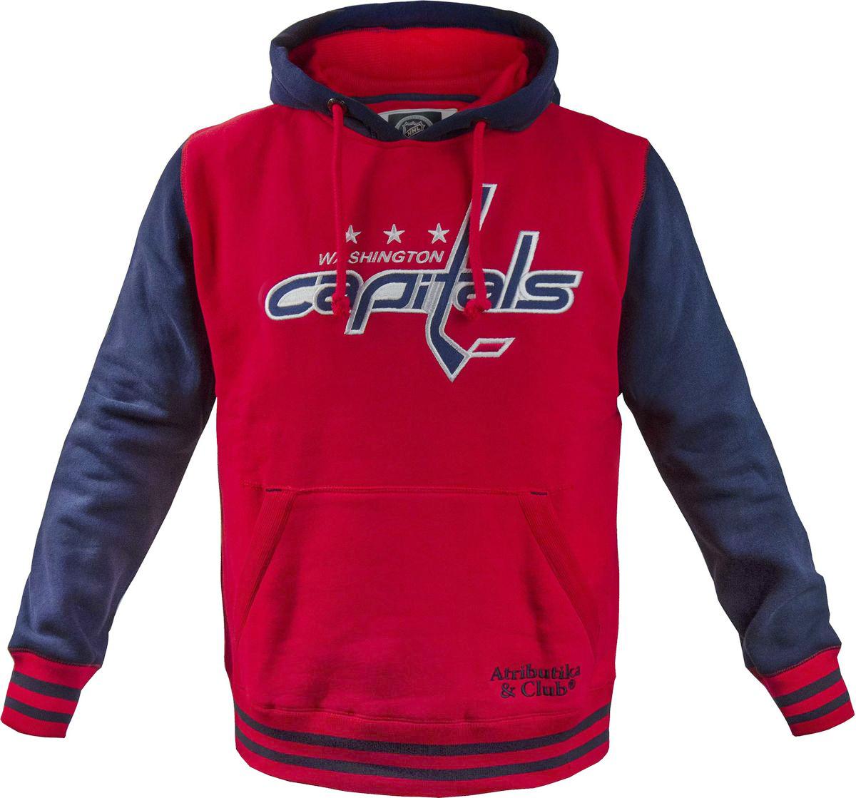 Толстовка мужская Atributika & Club Washington Capitals, цвет: красный, синий. 35790. Размер XS (44)35790Мужская толстовка Atributika & Club выполнена из хлопкового трикотажа. Модель с длинными рукавами и капюшоном на груди оформлена логотипом хоккейного клуба Washington Capitals. Имеется карман-кенгуру.