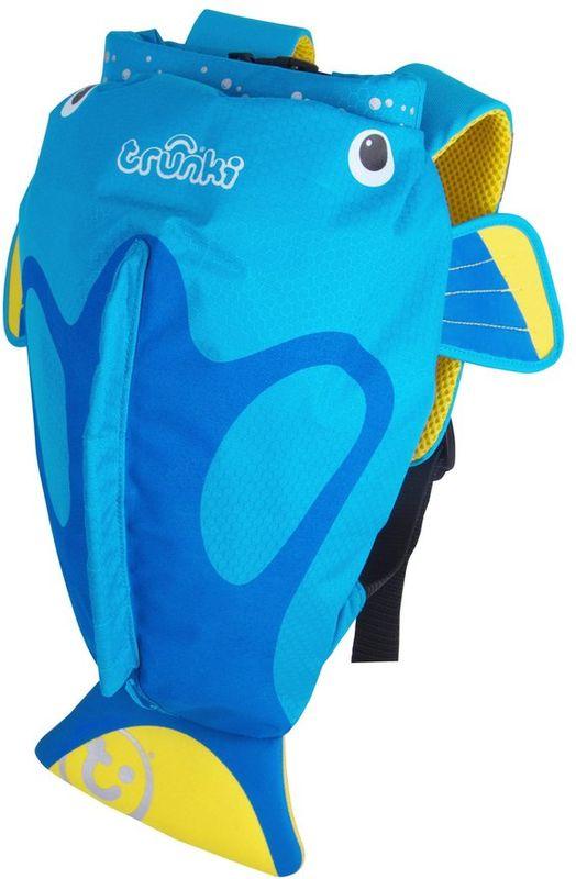 Trunki Рюкзак Коралловая рыбка 0173-GB010173-GB01Рюкзак выполнен в виде яркой голубой рыбки с хвостиком и плавниками. Сшит из легкого и прочного водоотталкивающего материала, который надежно защитит вещи от влаги на пляже или в бассейне, и даже в дождливую погоду поможет сохранить содержимое рюкзака сухим.Рюкзак для бассейна и пляжа оснащен специальным креплением Trunki, с помощью которого к рюкзаку можно подвесить детские солнцезащитные очки. Рюкзак имеет светоотражающую отделку, а также карман в виде плавника, куда можно положить различные мелочи.