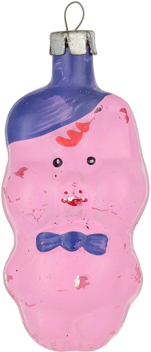 """Елочная игрушка """"Поросенок с синей бабочкой"""". Стекло, роспись. СССР, 1960-е годы"""