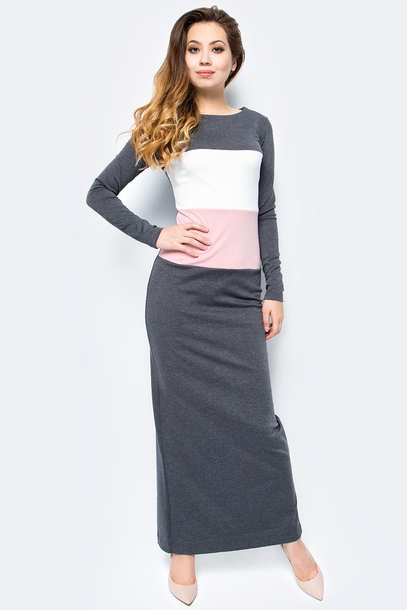 Платье женское La Via Estelar, цвет: серый. 14203. Размер 5214203Стильное платье La Via Estelar, выполненное из трикотажного материала, отлично дополнит ваш гардероб. Модель макси-длины с круглым вырезом горловины и длинными рукавами оформлена контрастными вставками спереди. Для удобства сзади предусмотрен глубокий разрез.