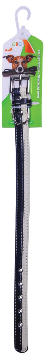 Ошейник для собак GLG, цвет: черный, бежевый, обхват шеи 36 смAMG0836-36-BL/BGОшейник GLG изготовлен из искусственной кожи. Клеевой слой, сверхпрочные нити, крепкие металлические элементы делают ошейник надежным и долговечным. Изделие отличается высоким качеством, удобством и универсальностью.Размер ошейника регулируется при помощи металлической пряжки. Имеется металлическое кольцо для крепления поводка. Ваша собака тоже хочет выглядеть стильно! Модный ошейник станет для питомца отличным украшением и выделит его среди остальных животных. Обхват шеи: 36 см. Ширина: 1,9 см.