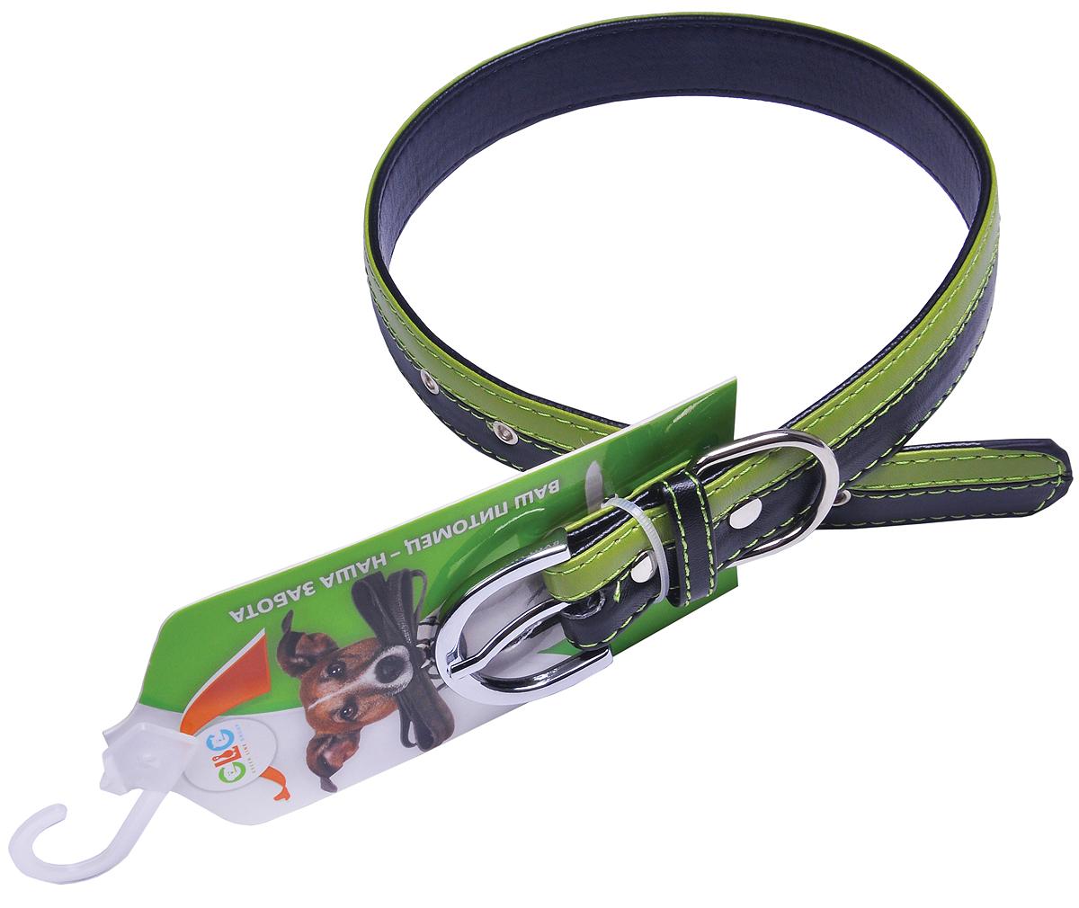 Ошейник для собак GLG, цвет: черный, салатовый, 2,54 х 57 смAMG0836-57-BL/G