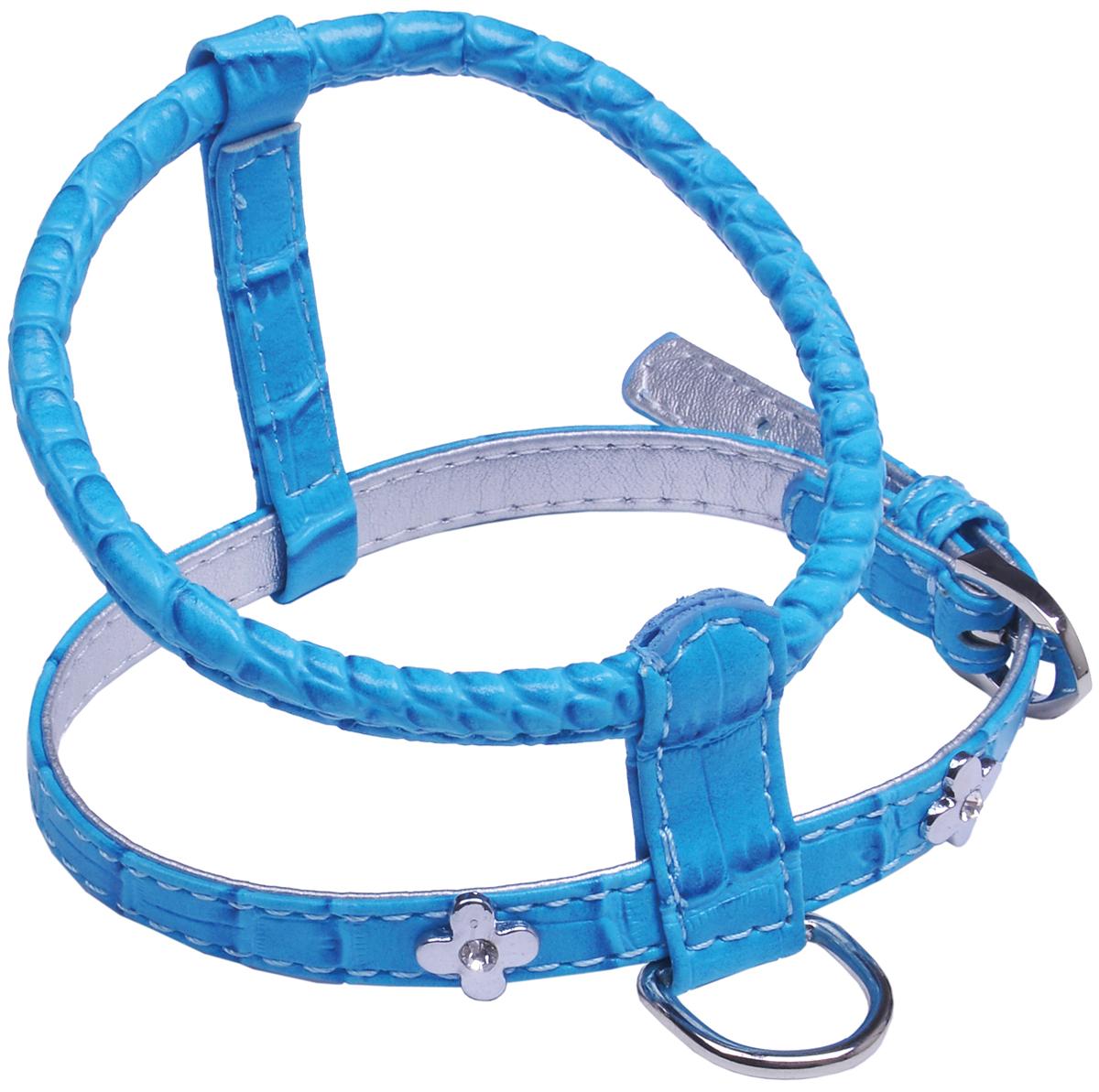 Шлейка для собак GLG Flower, цвет: голубой, 84-115 см. Размер LAMS1102-H-L-BШлейка для собак, изготовленная из искусственной кожи, подходит для собак средних пород. Крепкие металлические элементы делают ее надежной и долговечной. Шлейка - это альтернатива ошейнику. Правильно подобранная шлейка не стесняет движения питомца, не натирает кожу, поэтому животное чувствует себя в ней уверенно и комфортно. Изделие отличается высоким качеством, удобством и универсальностью. Размер регулируется при помощи пряжек.