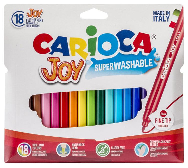 Набор Joy состоит из 18 разноцветных фломастеров, которые отлично подойдут и для школьных занятий, и просто для рисования. Фломастеры рисуют яркими насыщенными цветами. Чернила на водной основе легко смываются с кожи и отстирываются с большинства тканей. Корпус фломастеров изготовлен из полипропилена, а колпачок имеет специальные прорези, что еще больше увеличивает срок службы чернил и предотвращает их преждевременное высыхание. Порадуйте своих детей великолепными фломастерами Joy.