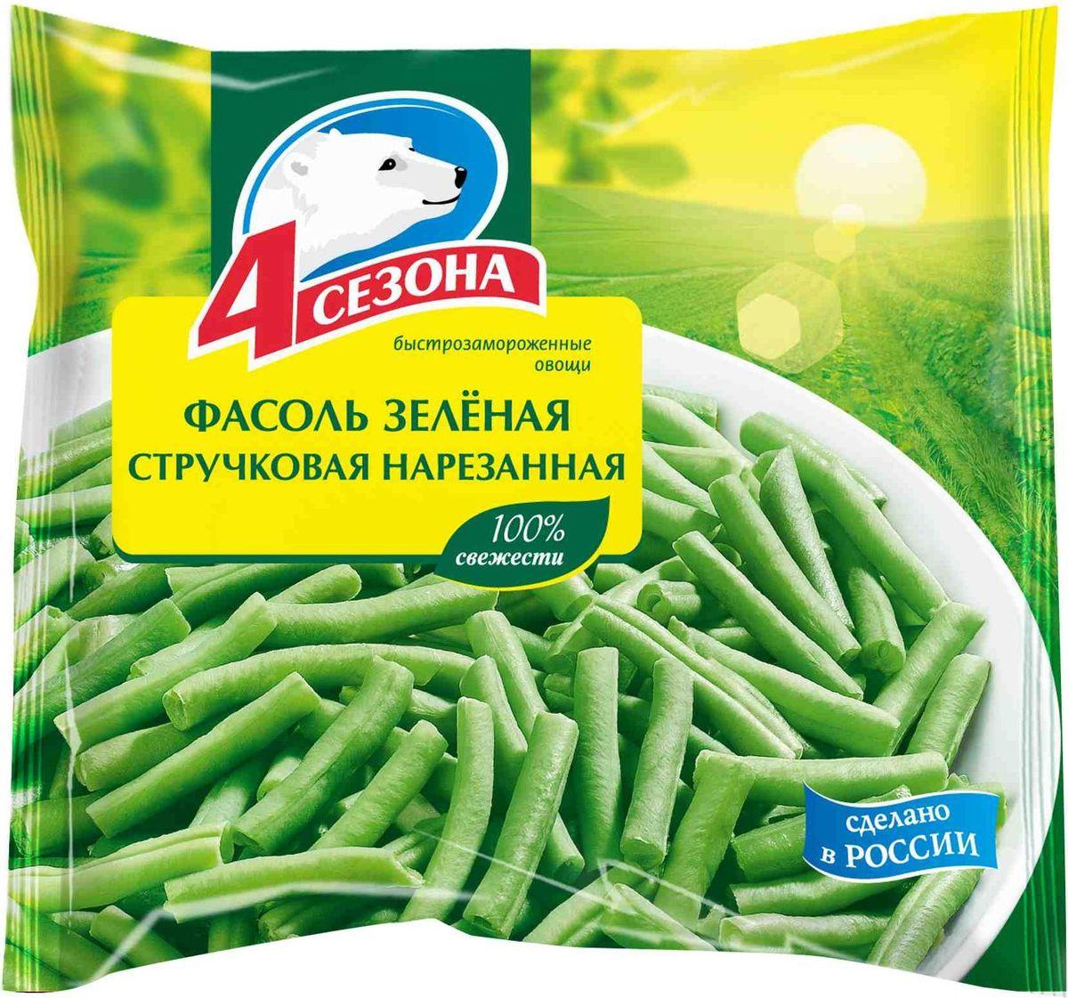 4 Сезона Фасоль зеленая стручковая нарезанная, 400 г