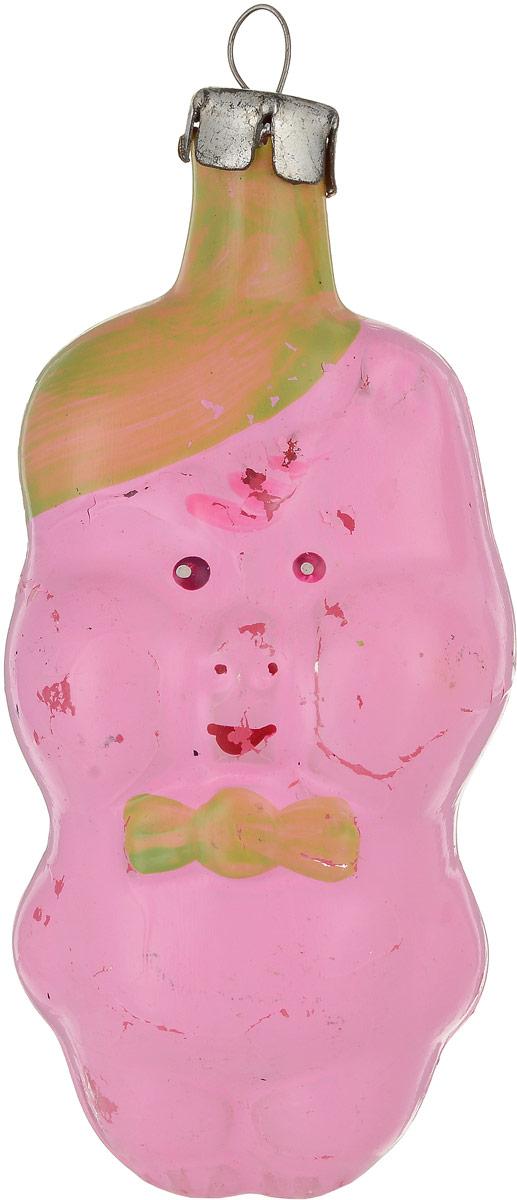 Елочная игрушка Поросенок с зеленой бабочкой. Стекло, роспись. СССР, 1960-е годы елочная игрушка поросенок с зеленой бабочкой стекло роспись ссср 1960 е годы