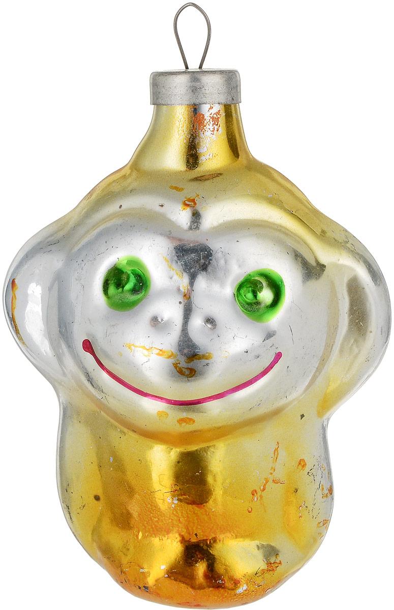 Елочная игрушка Мартышка. Стекло, роспись. СССР, 1960-е годы