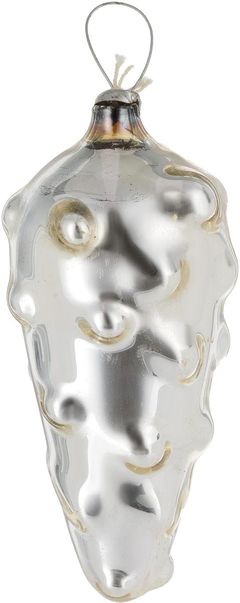 """Елочная игрушка """"Серебристый огурец"""". Стекло, роспись. СССР, 1960-е годы"""