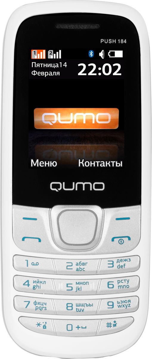 Qumo Push 184 GPRS, White20249Мобильный телефон QUMO Push 184GPRS white 1,8LCD/2SIM/MicroSD/BT/MP3/MP4 white