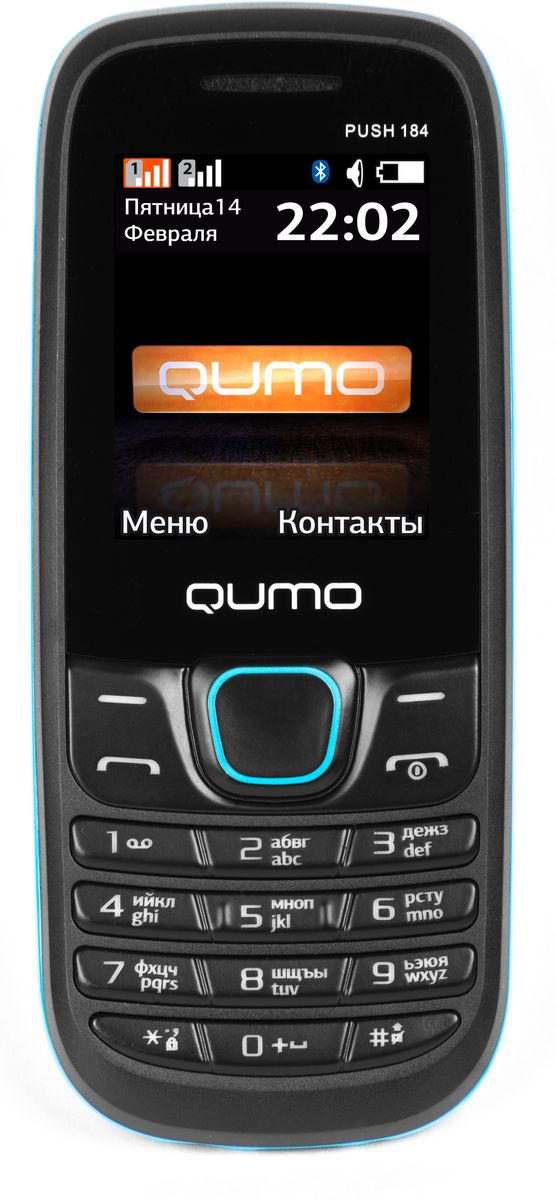Qumo Push 184 GPRS, Black Blue20251Мобильный телефон QUMO Push 184GPRS blue 1,8LCD/2SIM/MicroSD/BT/MP3/MP4 blue