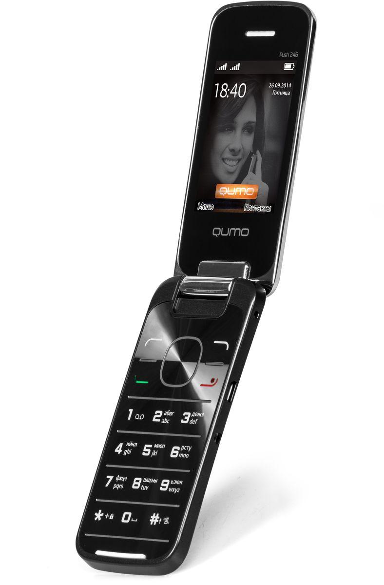 Qumo Push 246 Clamshell, Black20307Удобный, легкий и доступный каждому сотовый телефон QUMO Push 246 Clamshell порадует вас своими возможностями и невысокой стоимостью. Телефон поддерживает одновременную работу двух SIM-карт, передачу файлов по Bluetooth, позволит слушать FM-радио, а также проигрывает MP3 и MP4 файлы.Наличие встроенного музыкального плеера оценят любители музыки, тем более что новый телефон позволяет взять с собой солидную медиатеку: гаджет оборудован слотом для карт памяти microSD.Также пользователи оценят яркий цветной экран, встроенную камеру и фонарик.Новый QUMO 246 Clamshell оборудован полным набором приложений для ежедневного использования: органайзером, диктофоном, будильником, калькулятором.Встроенная Li-Pol батарея повышенной емкости - 850 мАч - позволит оставаться на связи до 2 недель.Телефон сертифицирован EAC и имеет русифицированную клавиатуру, меню и Руководство пользователя.