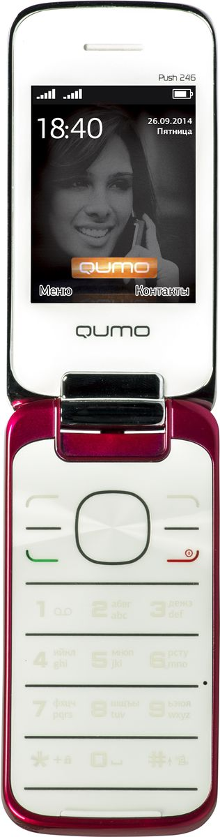 Qumo Push 246 Clamshell, Red20309Мобильный телефон QUMO Push 246 Clamshell red 2,4 SPREADTRUM 6531D/LCD/320 x 240/2SIM/MicroSD/BT 2.0/MP3/MP4/850mAH/GSM/red