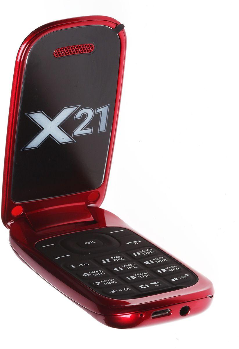 Qumo Push X21, Red21662Мобильный телефон QUMO Push X21 red 1,8LCD/2SIM/MicroSD/BT/MP3/MP4