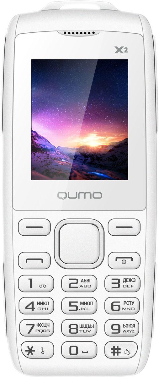 Qumo Push X2, White22053Телефон QUMO Push X2 - классический кнопочный телефон со всем необходимым функционалом. Отличный выбор для человека, который хочет всегда оставаться на связи.Телефон поддерживает одновременную работу двух SIM-карт, позволит слушать FM-радио, а также проигрывает MP3 файлы.Наличие встроенного музыкального плеера оценят любители музыки, тем более что новый телефон позволяет взять с собой солидную медиатеку: гаджет оборудован слотом для карт памяти microSD.Телефон сертифицирован EAC и имеет русифицированную клавиатуру, меню и Руководство пользователя.