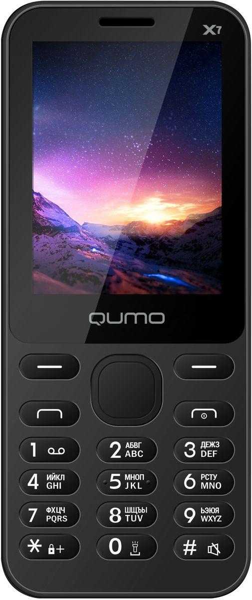 Qumo Push X7, Black22054Телефон QUMO Push X7 - классический кнопочный телефон со всем необходимым функционалом. Отличный выбор для человека, который хочет всегда оставаться на связи.br>Телефон поддерживает одновременную работу двух SIM-карт, передачу файлов по Bluetooth, позволит слушать FM-радио, а также проигрывает MP3 файлы.Наличие встроенного музыкального плеера оценят любители музыки, тем более что новый телефон позволяет взять с собой солидную медиатеку: гаджет оборудован слотом для карт памяти microSD.QUMO Push X7 оборудован полным набором приложений для ежедневного использования: органайзером, диктофоном, будильником, калькулятором.Телефон сертифицирован EAC и имеет русифицированную клавиатуру, меню и Руководство пользователя.