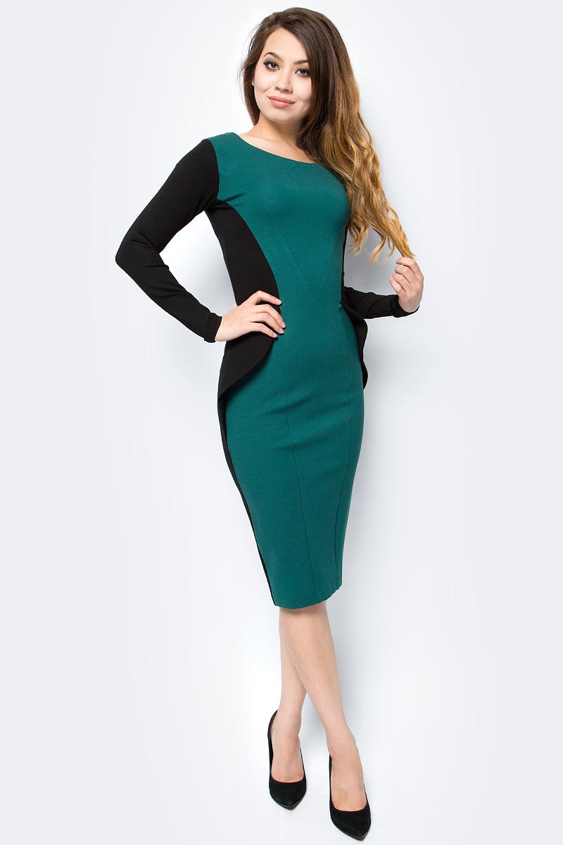 Платье женское La Via Estelar, цвет: черный, изумрудный. 14673. Размер 5014673Эффектное платье-футляр La Via Estelar выполнено из смесовой ткани. Модель облегающего кроя, с круглым вырезом горловины и длинными рукавами на талии дополнена модной баской. Изделие застегивается на потайную молнию на спинке. Для удобства сзади юбки предусмотрен разрез.