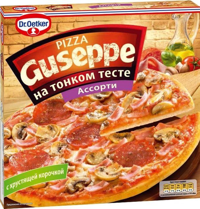 Dr.Oetker Пицца Guseppe Ассорти, тонкое тесто, 325 г902136Пицца Dr.Oetker Guseppe Ассорти, 325г.Пицца на тонком дрожжевом тесте с хрустящей корочкой покрыта сыромМоцарелла, ветчиной, салями и шампиньонами.Пицца глубокой заморозки. Содержит молочные продукты.Без ГМО.