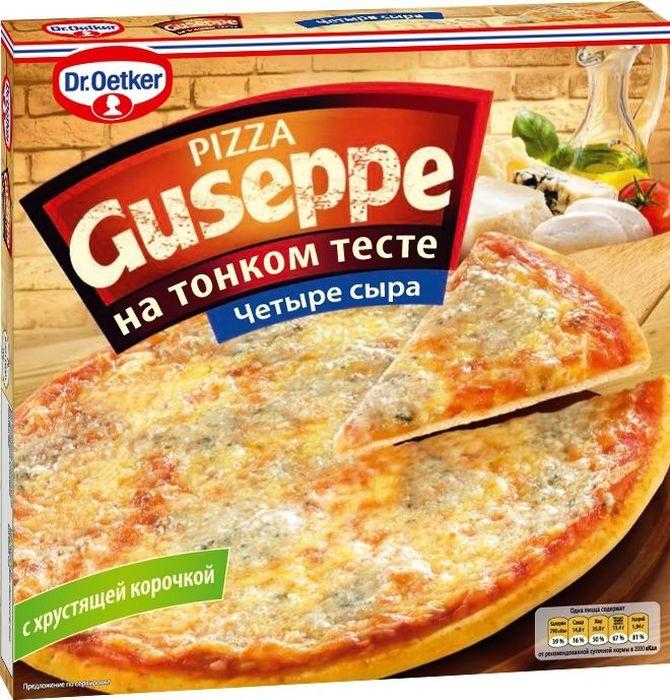 Dr.Oetker Пицца Guseppe 4 Сыра, тонкое тесто 305 г902141Пицца DR.OETKER GUSEPPE Четыре сыра – блюдо для настоящих гурманов, ведь для ее приготовления используют такие сыры, как Моцарелла, сыр с благородной плесенью, Эдам и Гауда. Без ГМО.
