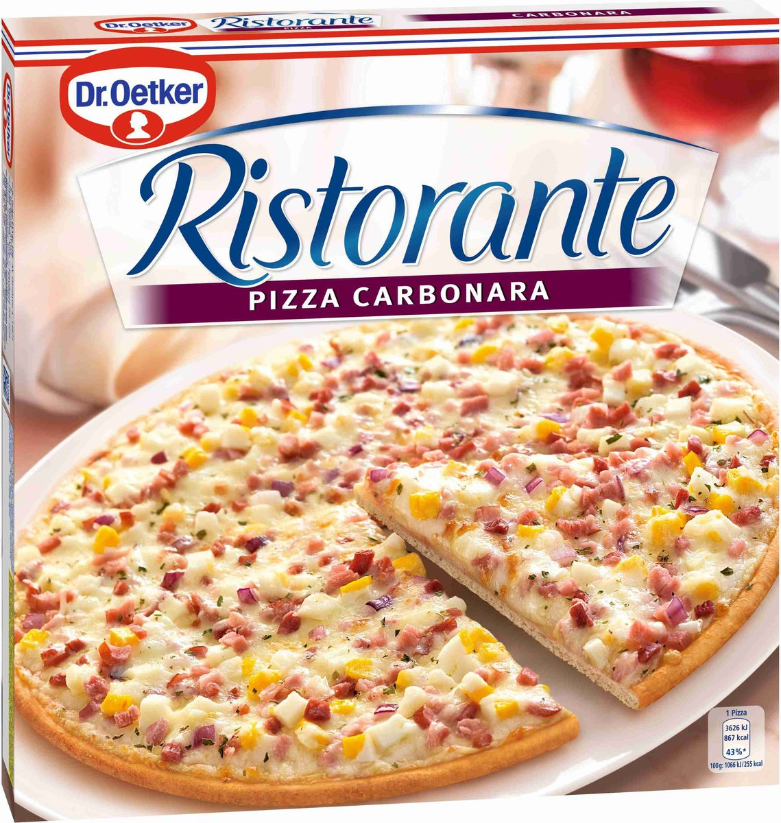 Dr.Oetker Пицца Ristorante Карбонара, 340 г15963Пицца Ристоранте Карбонара. Пицца обильно покрытаветчиной, яйцами и сыром на тонком хрустящем тесте. Пицца глубокойзаморозки. Хранить при температуре -18С.