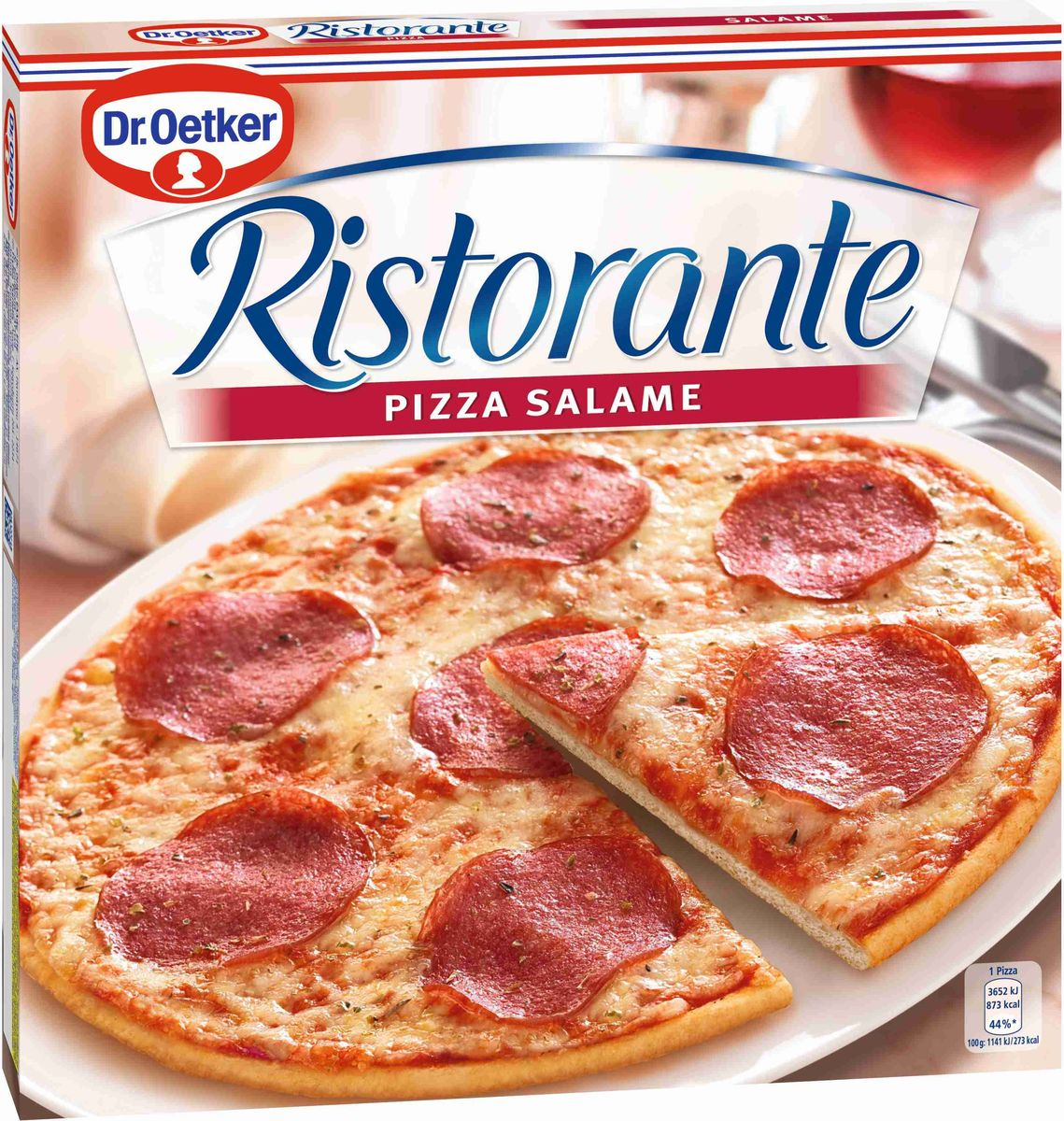 Dr.Oetker Пицца Ristorante Салями, 320 г22180Пицца Dr.Oetke Ristorante - изысканная итальянская пицца на тонком хрустящем тесте с богатой начинкой. Пицца обильно покрыта салями, сырами Эдам и Моцарелла.Пищевая ценность на 100 г продукта: жиры - 14 г, белки - 10,3 г, углеводы - 26,3 г.