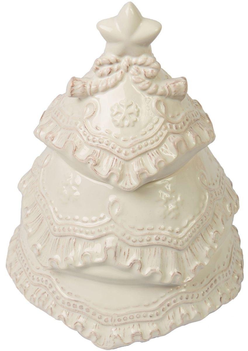 Банка для печенья Magic Time Сказочная снежная елочка, 15 x 15 x 19,5 см75889Банка для печенья Сказочная снежная елочка от Magic Time - это новогоднее украшение для стола, которое приносит ощущение праздника и волшебства в дом, создает атмосферу радости и веселья. Банка изготовлена из высококачественной керамики и прекрасно подходит для хранения и сервировки. Такая посуда станет отличным подарком для ваших друзей и близких.