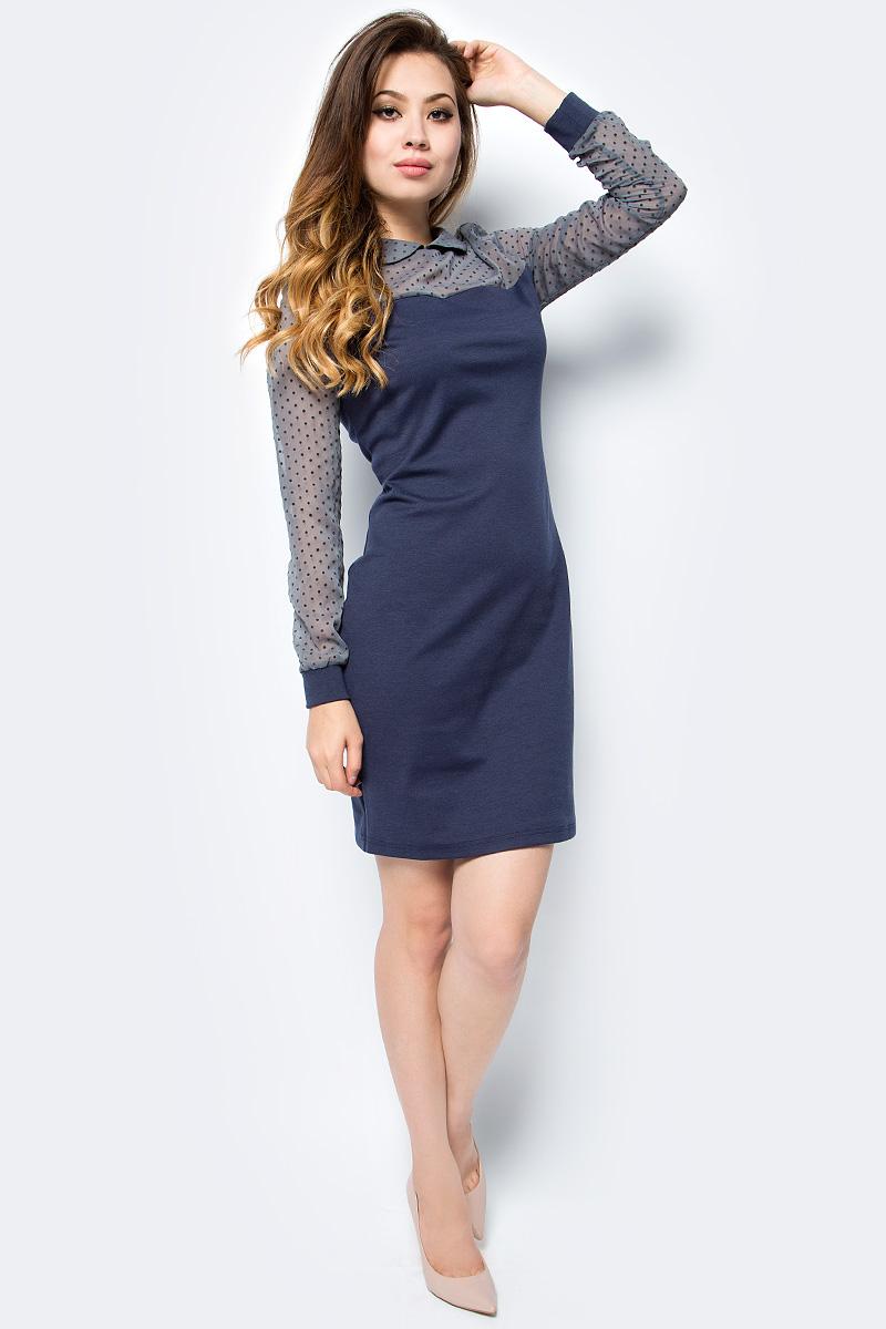 Платье женское La Via Estelar, цвет: синий. 14006. Размер 4614006Стильное платье La Via Estelar выполнено из вискозы с добавлением полиэстера. Модель облегающего кроя с отложным воротником и длинными рукавами с трикотажными манжетами. На спинке изделие застегивается на потайную молнию. Эффектное платье позволит вам создать незабываемый образ.
