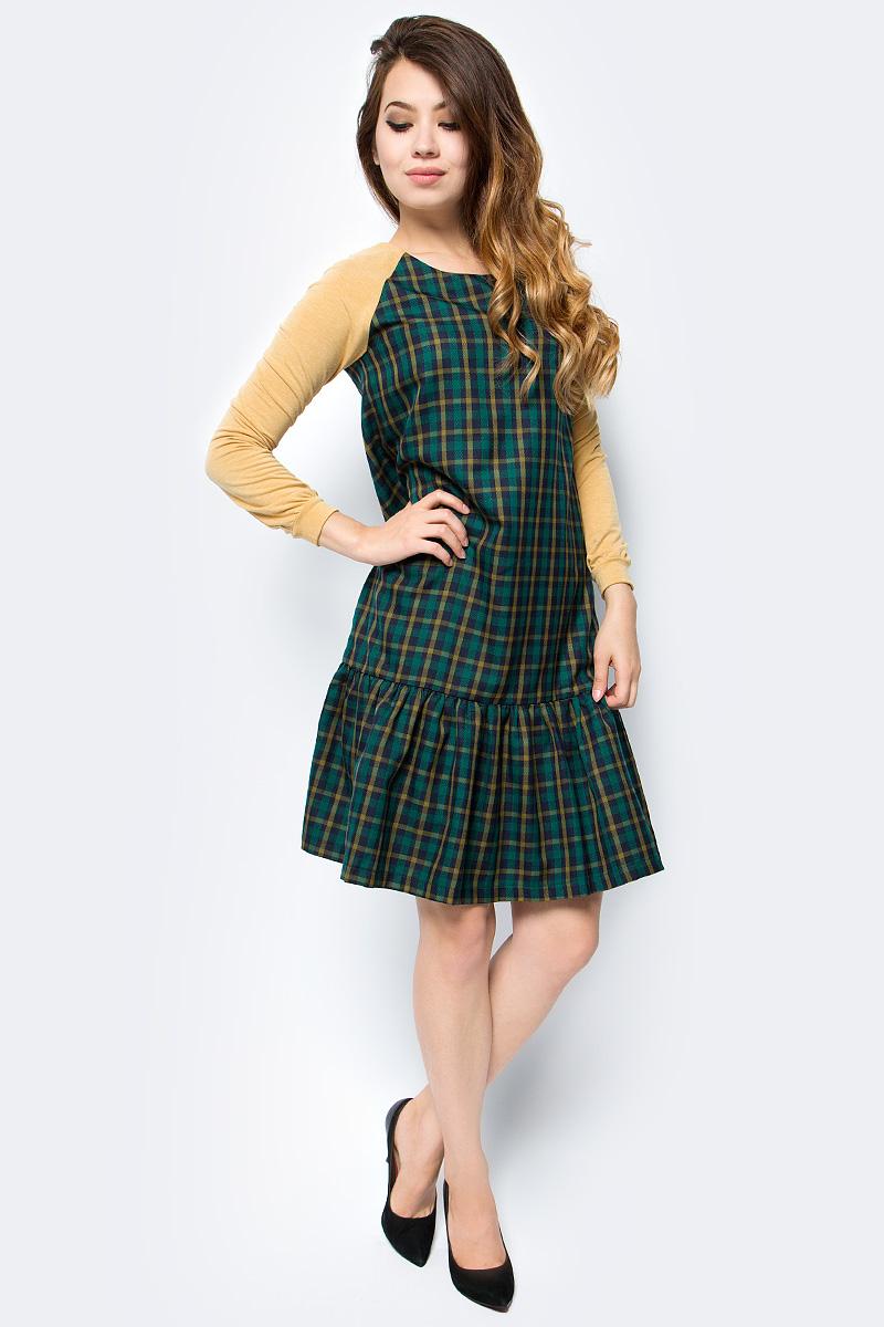 Платье женское La Via Estelar, цвет: желтый, зеленый. 14007-2. Размер 50 платье la via estelar цвет фиолетовый 14672 2 размер 48